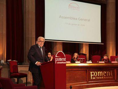 El presidente de Foment del Treball, Josep Sánchez Llibre, el pasado 13 de enero.
