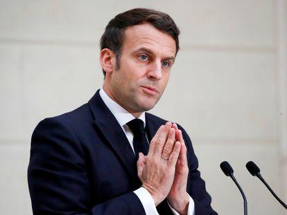 El presidente francés Emmanuel Macron durante un discurso 13 de enero.