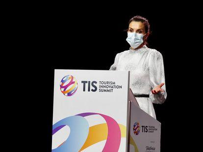La reina Letizia, el pasado  miércoles, durante su discurso de inauguración de la Tourism Innovation Summit 2020, en Sevilla.