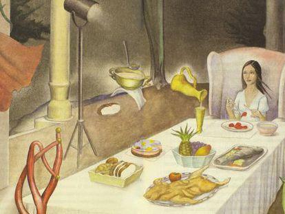 Ilustración de Federico Delicado en uno de los cuentos de Rodríguez Almodóvar.