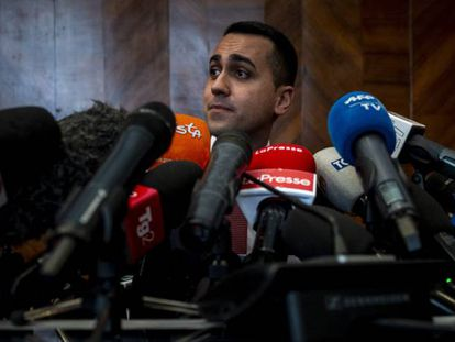 Luigi Di Maio, durante la rueda de prensa del lunes para explicar su mal resultado.