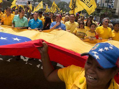 Un momento de la marcha de este sábado en Caracas.