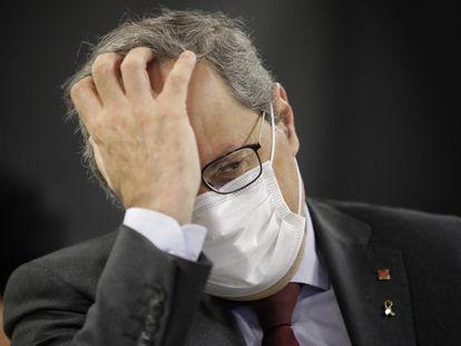 El presidente de la Generalitat, Quim Torra, este lunes, durante la presentación telemática del informe de la BioRegión de Cataluña 2020.