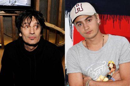 A la izquierda, Tommy Lee y, a la derecha, Brandon Thomas Lee, el hijo del rockero y la actriz Pamela Anderson.