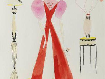Uno de los dibujos que expone y vende la diseñadora de moda Lydia Delgado.