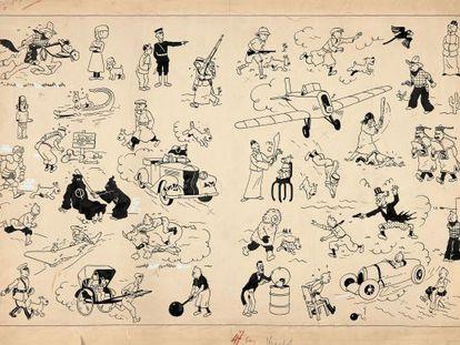 Página de Tintín subastada a un precio récord por Artcurial.