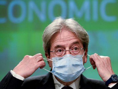 El comisario de Economía de la UE, Paolo Gentiloni, en la comparecencia de este miércoles en Bruselas.