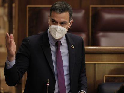 El presidente del Gobierno, Pedro Sánchez, el pasado miércoles en el Congreso de los Diputados.