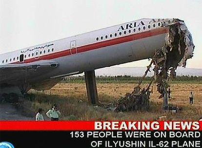 El avión siniestrado en una imagen de la televisión oficial Press TV.
