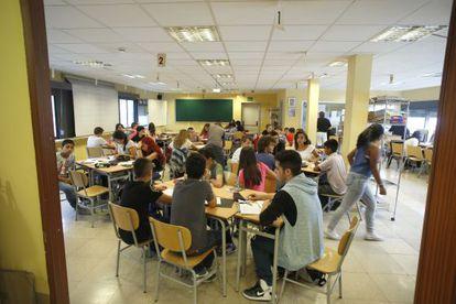 Aula de un instituto madrileño, el pasado junio.
