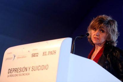 La ministra de Sanidad en funciones, María Luisa Carcedo, durante su intervención en la jornada 'Depresión y suicidio. La realidad silenciada'.