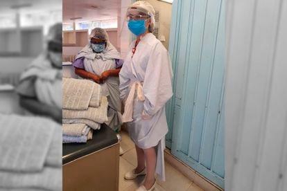 Enfermeras del Hospital Dr. Samuel Ramírez con batas improvisadas.