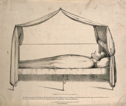 Drawing by L Wellcome in which Napoleon is seen in his bed 14 hours after he died.