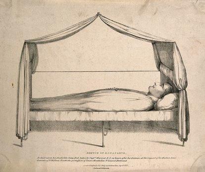 Dibujo de L Wellcome en el que se ve a Napoleón en su cama 14 horas después de haber muerto.