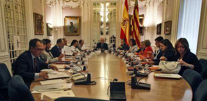 Reunión de la Junta de Portavoces, este jueves, en las Cortes.