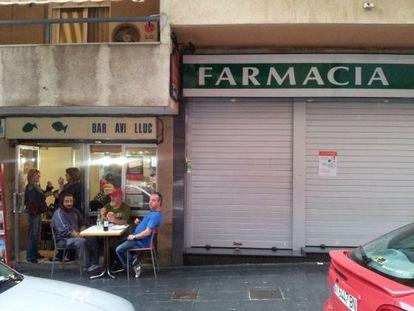Farmacia cerrada en la ciudad de Tarragona.