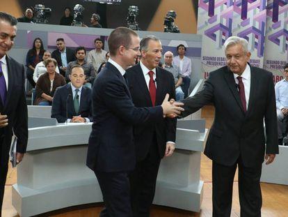 Los candidatos en el último debate electoral en México.
