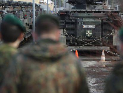 Soldados alemanes en Lituania este martes.