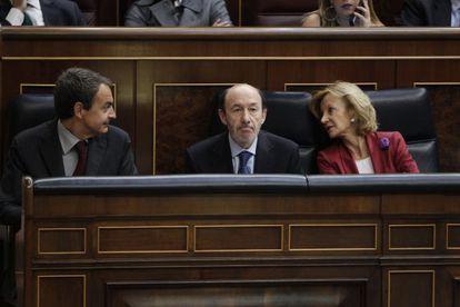 Rubalcaba, Zapatero y Salgado, en el Congreso