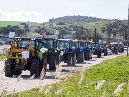 Tractorada en Jerez de la Frontera organizada el pasado marzo contra el decreto de convergencia de la PAC.