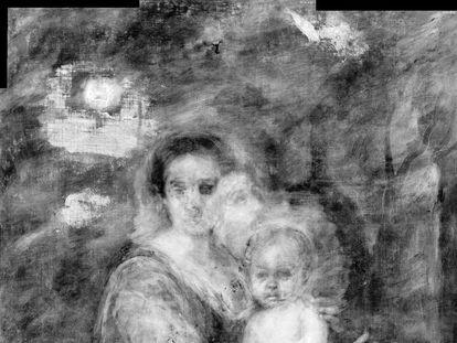 Radiografía de la 'Virgen de la leche' realizada por la Galería Nacional de Arte Antiguo de Roma en la que se puede observar el rostro de san Francisco pintado con anterioridad