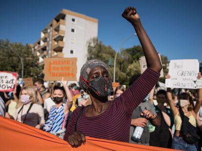 Una protesta en Berlín contra la evacuación de los campos de migrantes de la isla griega de Lesbos, el pasado septiembre.