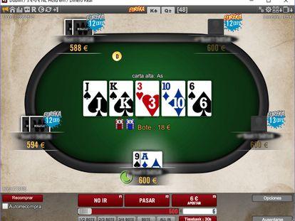 Mesa de póker 'online'.