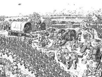 Las ilustraciones al libro 'La gran guerra', de Joe Sacco, que recrea el comienzo de la batalla del Somme y se publica en España el 6 de marzo (Mondadori).