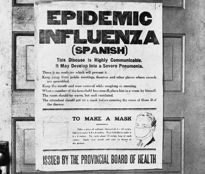 """Un cartel de consejos para prevenir la """"gripe española"""" en Alberta, en 1918 (Canadá)."""