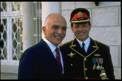 Then-Prince Abdullah and his father, King Hussein, at the young man's wedding to Rania in June 1993.