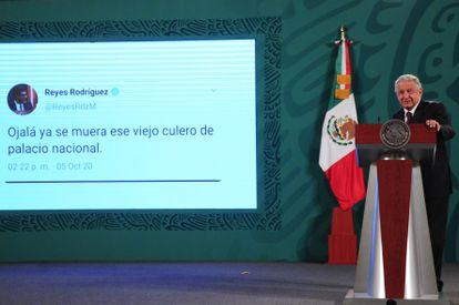 Andrés Manuel López Obrador durante la conferencia matutina del día de hoy.