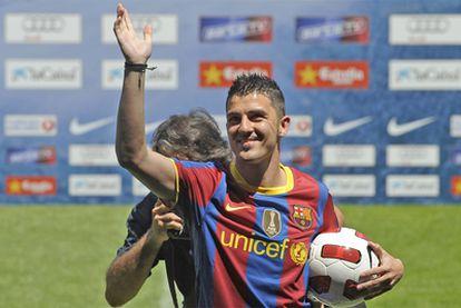 Villa, el día de su presentación con el Barcelona.