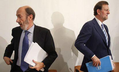 Alfredo Pérez Rubalcaba y Mariano Rajoy.