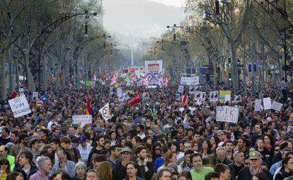 Manifestación en Barcelona en la huelga general del 29-M.