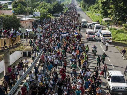 Caravana de migrantes centroamericanos el 21 de octubre de 2018.