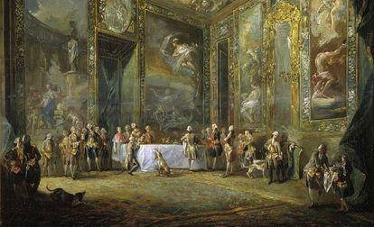 Carlos III comiendo ante su corte (Luis Paret y Alcázar, 1775).