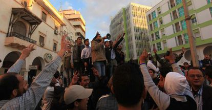 Protesta contra el Consejo Nacional, el miércoles en Bengasi.