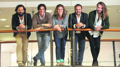 De izquierda a derecha, Carlos Molina (Tidart), José Manuel Cartes (Tiendalista), Cristina Chacón (Carne Villa María), Óscar Pezuela (Onyon365) y Alberto Bravo (We Are Knitters).