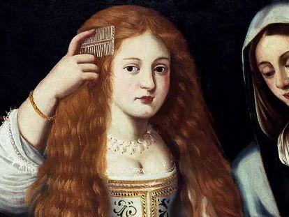 'Alegoría de la vanidad', cuadro anónimo del siglo XVII conservado en el monasterio de las Descalzas Reales de Madrid, en el que aparece en primer plano un supuesto retrato de La Calderona.