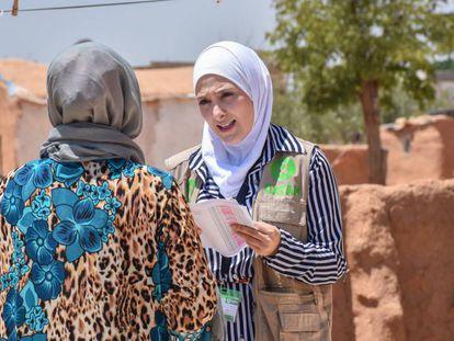 Sana Majeed, coordinadora de Promoción de la salud pública de Oxfam en Siria, trabaja en la ciudad de Alepo (julio de 2019).