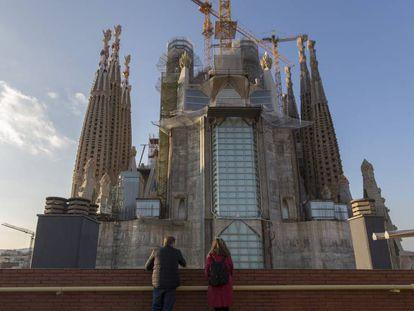 La Sagrada Familia vista desde la azotea del edificio de la calle de Mallorca.