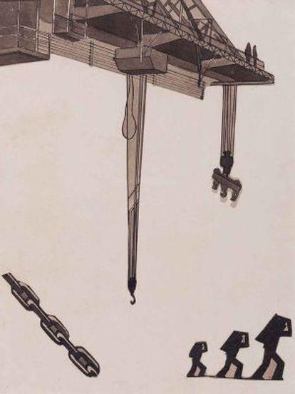 'Cargadores y grúa', 'collage' y tinta sobre papel.