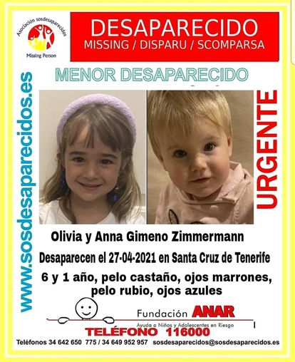 La pequeña Oliva y Anna, de seis y un año, desaparecidas en Tenerife SOS DESAPARECIDOS 03/05/2021