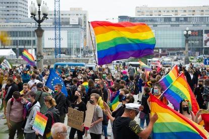 Manifestación a favor del colectivo LGTB, en Varsovia el 30 de agosto.
