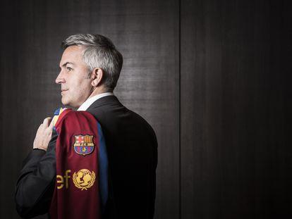 Victor Font, candidato a la presidencia del Barcelona en su sede electoral.