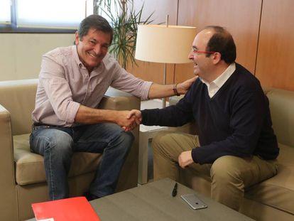 Javier Fernández, reunido con Miquel Iceta, líder del PSC.