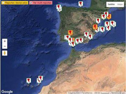 Tornados registrados en España (enero de 2016 a 12 de mayo de 2017).