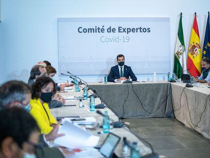 El presidente de la Junta de Andalucía, Juan Manuel Moreno, durante la reunión del comité de expertos de covid.