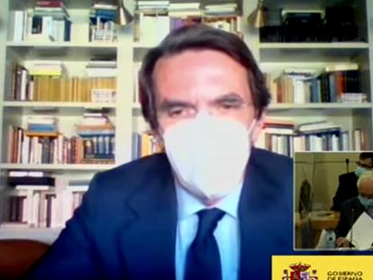 Aznar, durante su declaración como testigo en el juicio sobre la caja B del PP, el pasado 24 de abril.