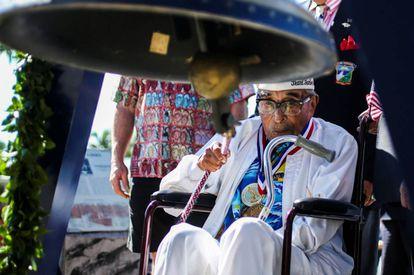 Ray Chavez, el último superviviente del ataque de Pearl Harbor, el pasado 6 de diciembre de 2016.